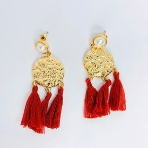 New! Gold Textured Pearl Tassels Fringes Earrings